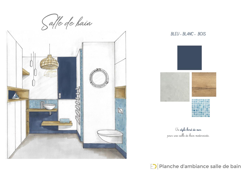 Planche d'ambiance salle de bain marine